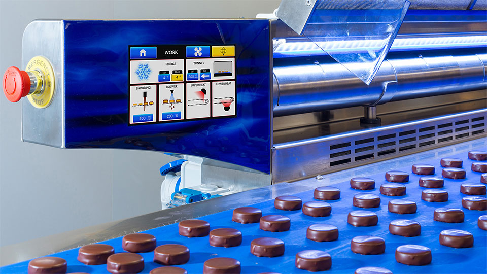Selmi coating tunnel: animated touch screen control panel